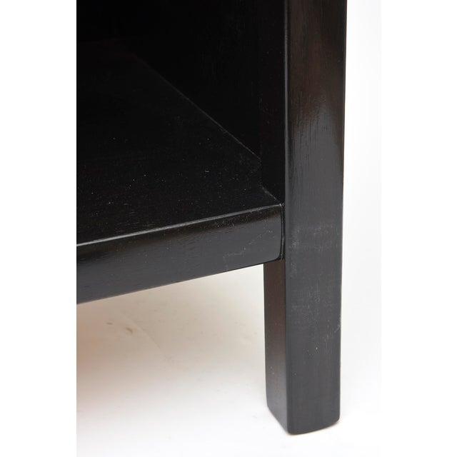 Metal Pair of Mid- Century John Widdicomb Ebonozied Wood &Original Nickel Silver Nightstands For Sale - Image 7 of 8