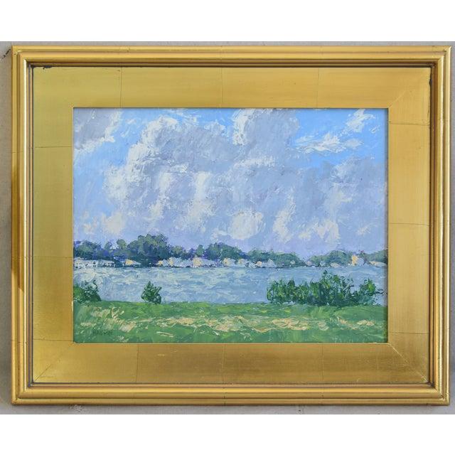 71c140708824 Blue Impressionist Plein Air Lake   Sky Painting W  Gold Leaf Frame For Sale  -