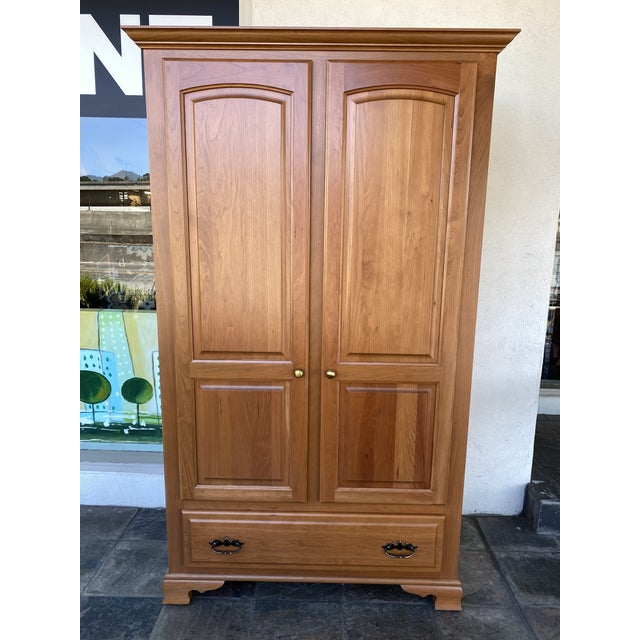 Amish Cherry Wood Classic Wardrobe Armoire For Sale - Image 12 of 13