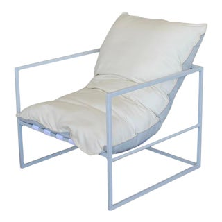 Vesta Eloi Outdoor Dining Chair in White and Silver For Sale
