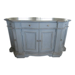 Collezione Europa Blue Painted Distressed Serpentine Sideboard For Sale