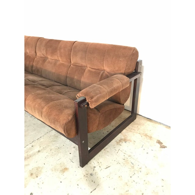Percival Lafer Perceval Lafer Brazilian Rosewood and Suede Sofa For Sale - Image 4 of 7