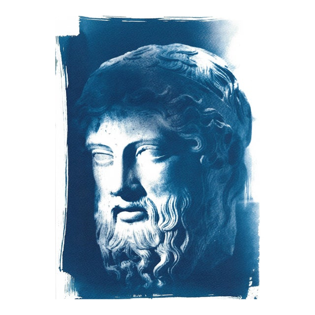Roman Man with Beard Bust Sculpture, Cyanotype (Limited Edition) For Sale