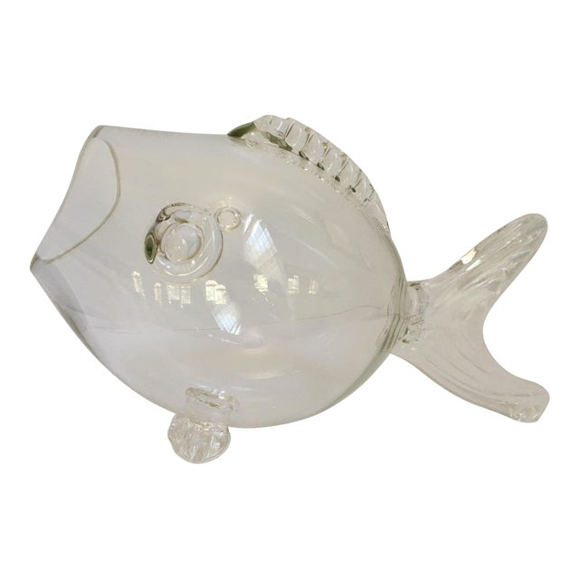 Large-Blenko Mid-Century Hand Blown Glass Fish Bowl For Sale