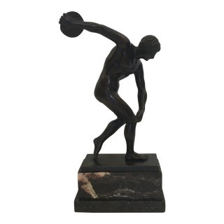 Bronze Discus Thrower Sculpture, Classical Greek For Sale