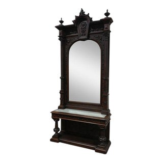 """19th century Monumental Highly Carved Walnut Mirror w/Marble top console -c1850s Size 120"""" For Sale"""