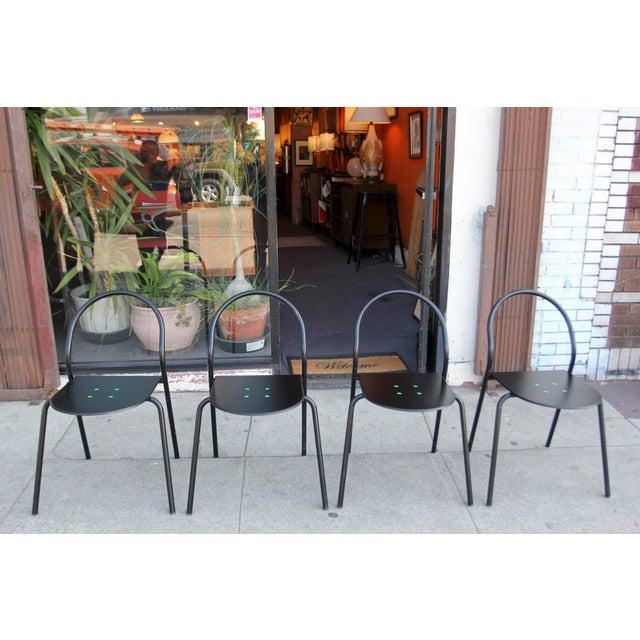 1980s Modern Black Metal Side Chairs - Set of 4 For Sale - Image 12 of 12