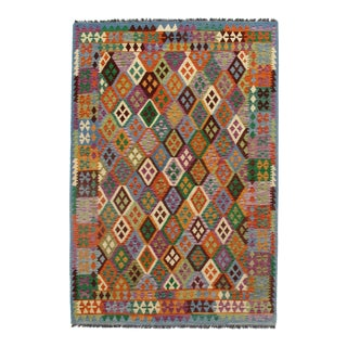 Afghan Kilim Handspun Wool Rug - 6′7″ × 9′6″ For Sale