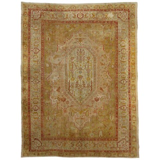 Antique Turkish Oushak Rug with Golden Yellow, Pink and Red
