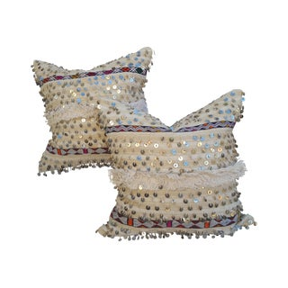 Embroidered Moroccan Dowry Quilt Pillows - A Pair For Sale