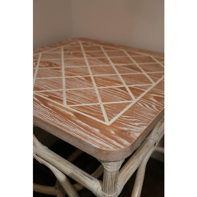 Adirondack White-Wash Finish Rattan Occasional Table For Sale - Image 3 of 11