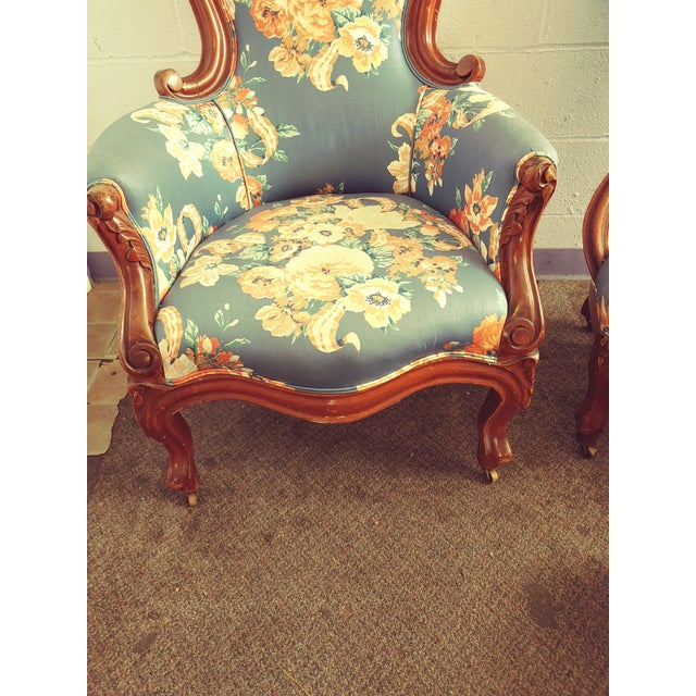Antique Slipper Chairs & Ottoman, 3 Pieces For Sale - Image 9 of 10