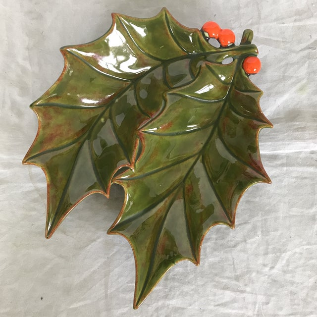 1960's Glazed Ceramic Holly Leaf Candy Dish For Sale - Image 4 of 4
