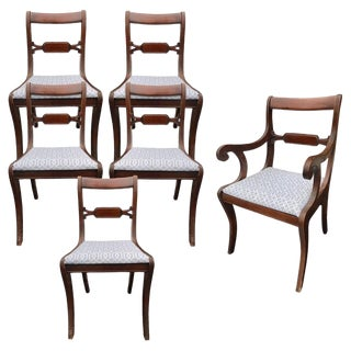 1930s Antique Tell City Chair Co Mahogany Regency Dining Chairs- Set of 6 For Sale