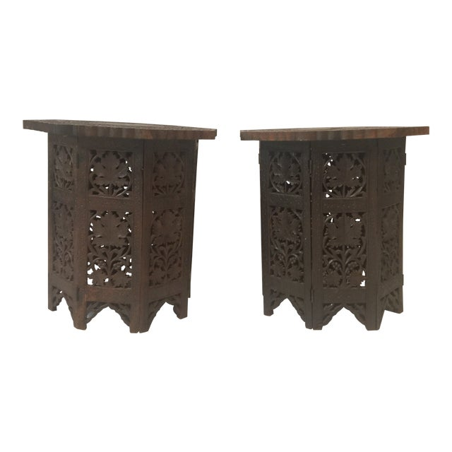 1950s Mediterranean Hand Carved Rosewood Inlaid Side Tables - a Pair For Sale