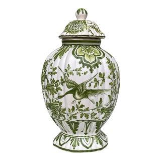 Vintage Chinese Porcelain Peacock Floral Motif Urn Jar W/ Lid For Sale
