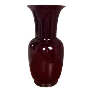 Opalino Red Murano Glass Vase by Paolo Venini For Sale