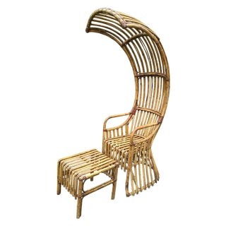 Bamboo Canopy Chair With Table & Footstool