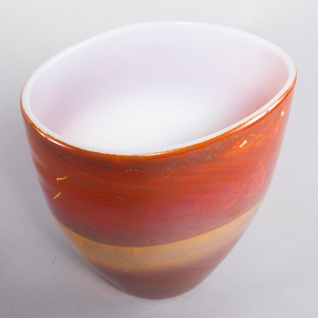 Circa 1960s Murano glass opaline bowl form vase by Ermanno Nason for Antonio da Ros features rich color bands of red,...