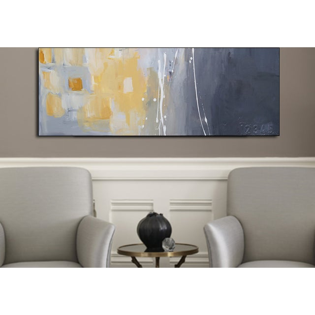 50 Shades of Gray & Yellow is a giclee canvas reproduction of work created by Julie Ahmad. This piece has a calming effect...