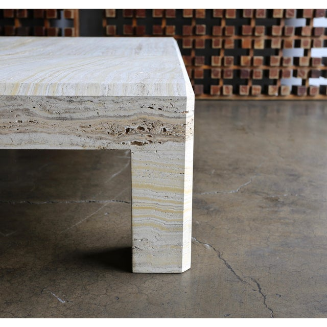 Stone Travertine Coffee Table Circa 1980 For Sale - Image 7 of 13