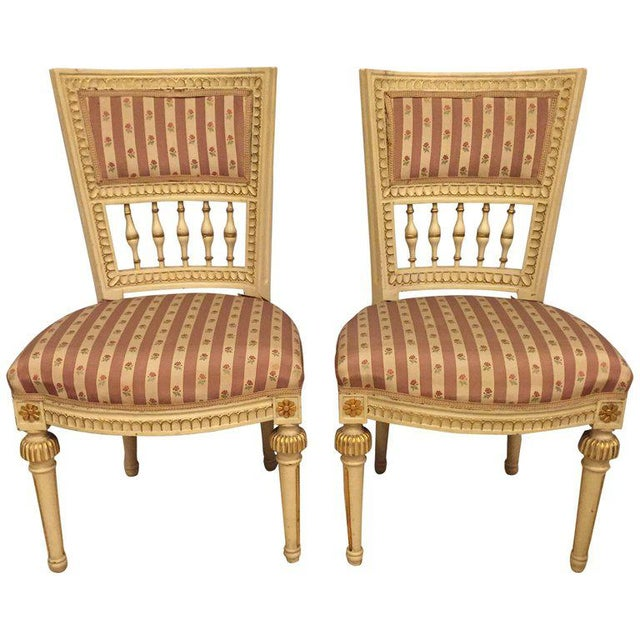 Pair of Paint Decorated Jansen Style Side Chairs For Sale - Image 10 of 10