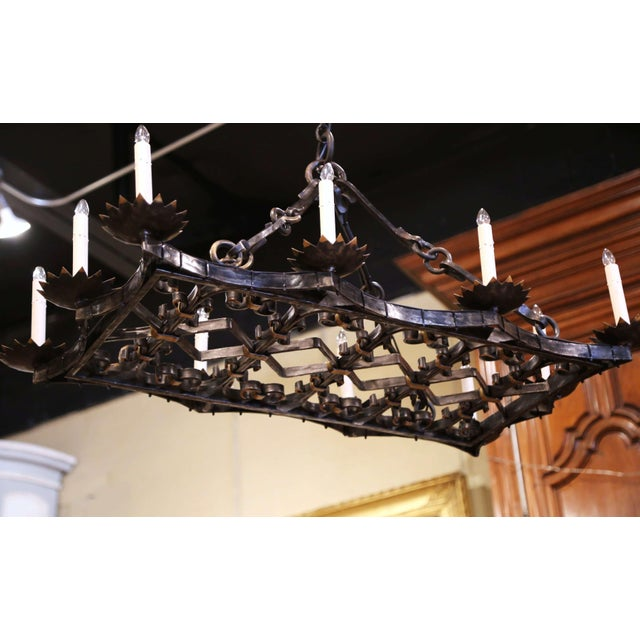 19th Century French Gothic Forged Iron Flat Bottom Ten-Light Chandelier For Sale - Image 9 of 13
