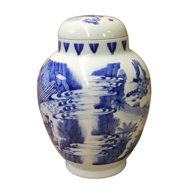 Chinese Blue White Porcelain People Theme Urn Jar Container - Image 2 of 6