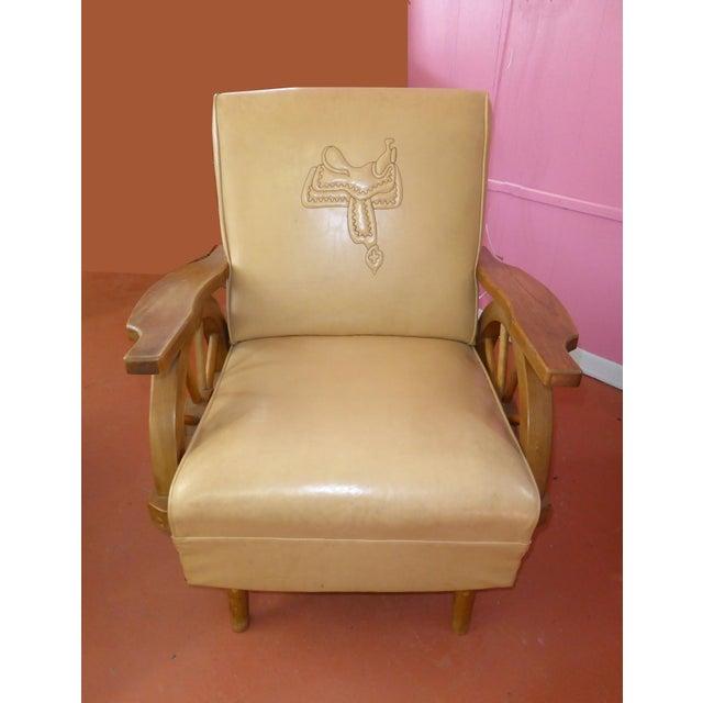 Tan Vintage Western Cowboy Wagon Wheel Sleeper Sofa Rocking Chair A Pair For