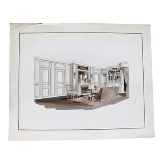 1960s French Interior Gouache Design Project Depicting a Living Room For Sale