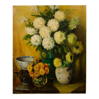Mid 20th Century Floral Still Life Oil Painting by Avis L. McClean For Sale