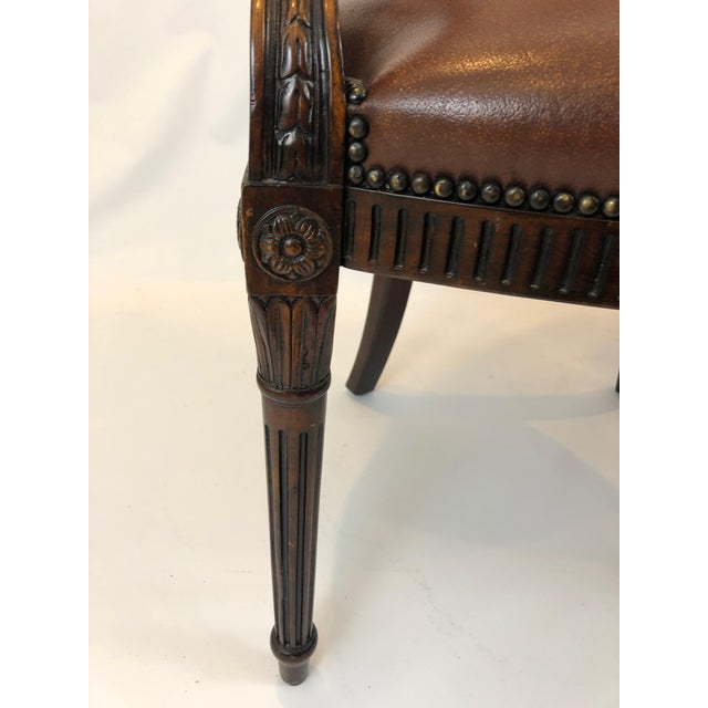 Wood Caned Cameo Back Armchair With Leather Seat For Sale - Image 7 of 12