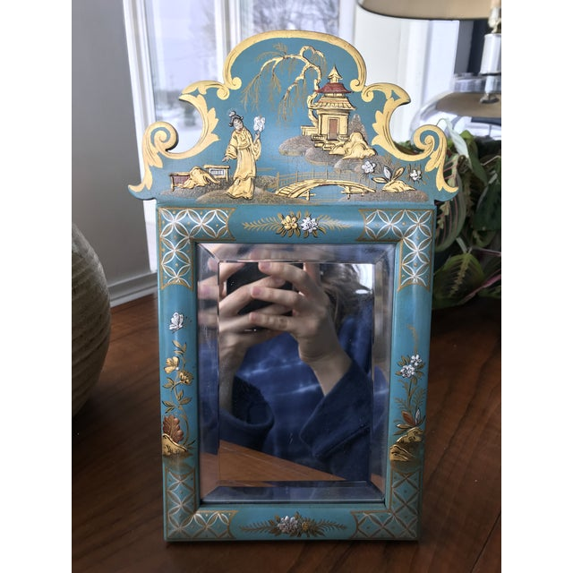 1970s Vintage Mid Century Chinoiserie Teal Lacquered Pagoda Textured Painting Dressing Mirror For Sale - Image 9 of 12