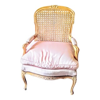 Vintage Cane Back Bergere Chair With Pink Cushion For Sale