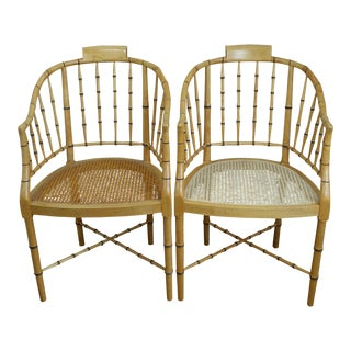 Chinoiserie Regency Style Faux Bamboo and Cane Chairs by Baker - a Pair For Sale