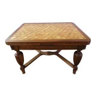 Rectangular Antique French Jacobean Style Oak X-Stretcher Parquetry Dining Table