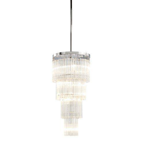 Hollywood Regency Hollywood Regency 5 Light Tiered Chrome Chandelier For Sale - Image 3 of 4