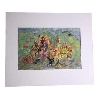 1960's Alexandra Docili Watercolor Abstract Painting For Sale