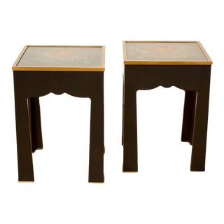 Hand Painted Lacquered Salon Side Tables, Contemporary - A Pair For Sale