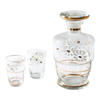 Floral Cordial Decanter & Shot Glasses - Set of 3