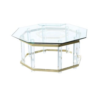 Vintage 1970s Hollywood Regency Acrylic Lucite Glass and Brass Coffee Table For Sale