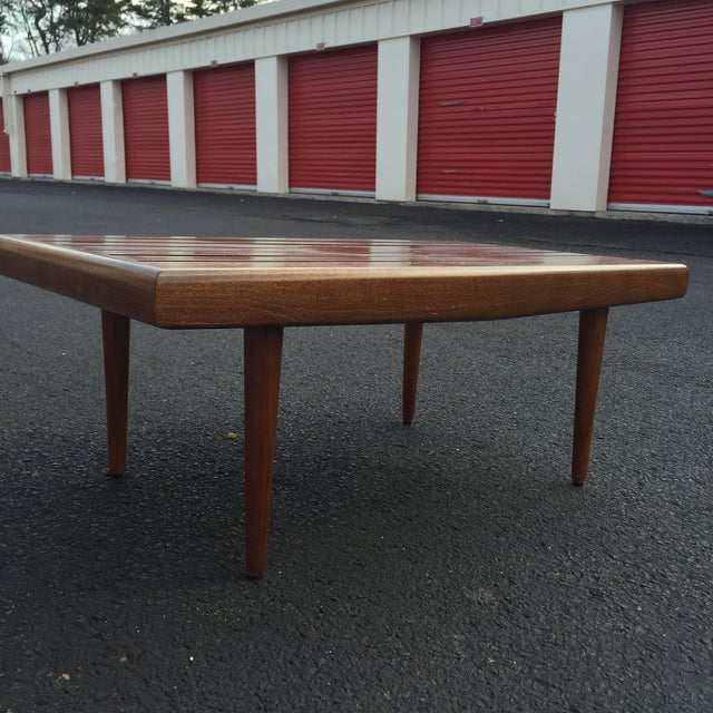 Mid-century Walnut Slat Rectangular End Table - Image 7 of 7