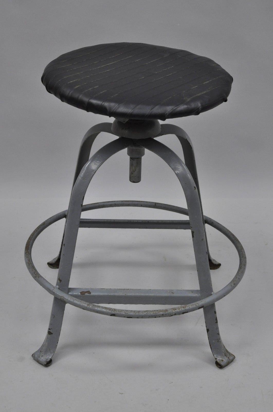 Antique American Industrial Grey Steel Metal Adjustable Work Stool   Image  2 Of 10