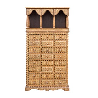 Arched Inlaid Apothecary Dresser For Sale