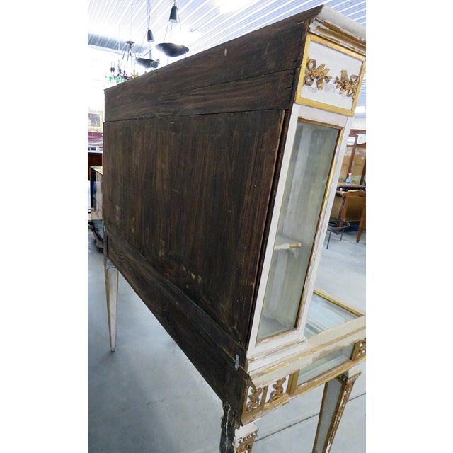 White Antique Venetian Distressed Painted Display Case For Sale - Image 8 of 9