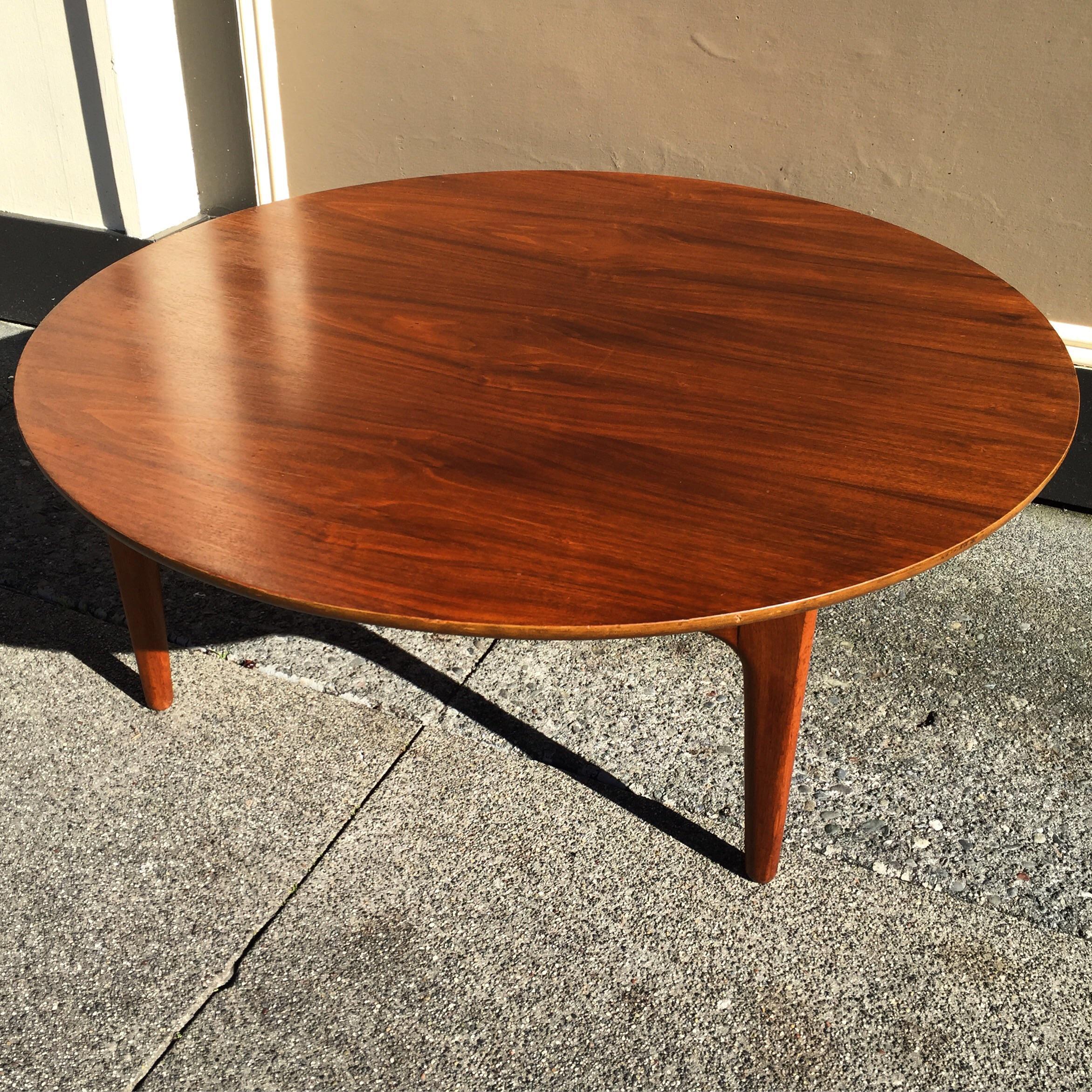 Danish Modern Round Walnut Coffee Table