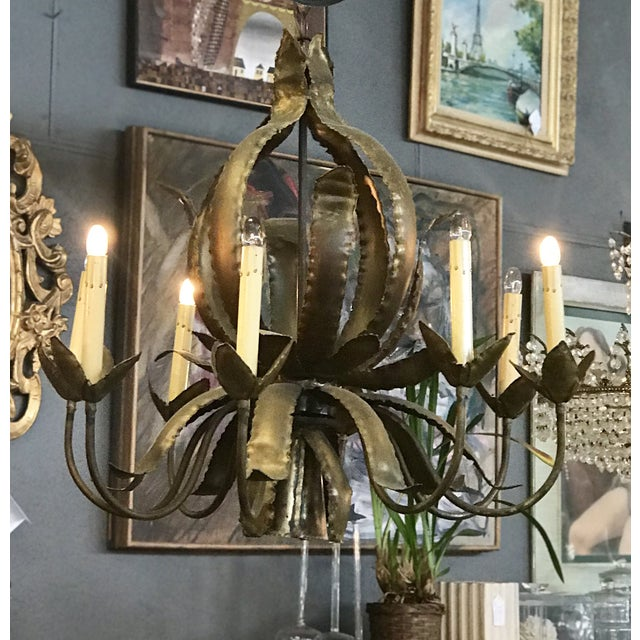 Brass Brutalist Chandlier by Tom Greene For Sale - Image 7 of 7