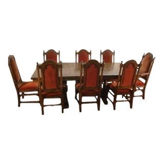 1980s Gothic Ethan Allen Charter Oak Dining Set - 9 Pieces For Sale