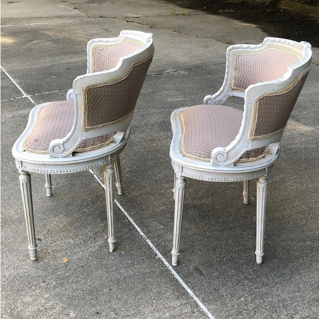 Pair Antique French Louis XVI Painted Armchairs will make a charming seating group, with timeless classical styling...