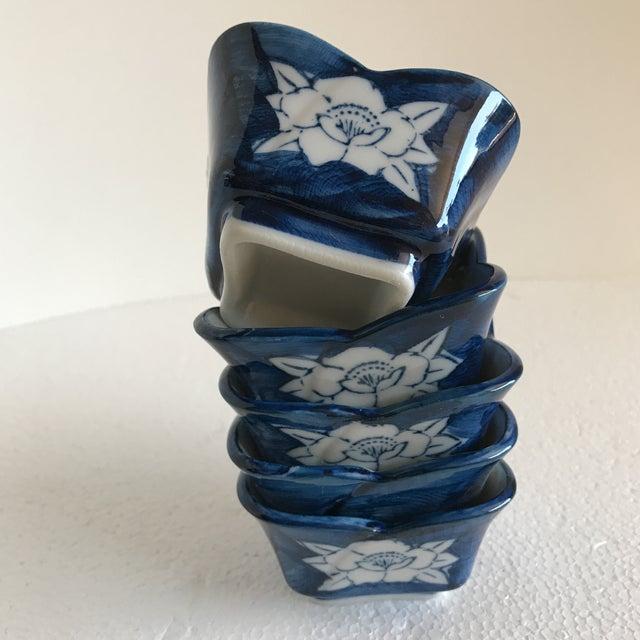 Vintage Lotus Flower Ceramic Sauce Dishes - Set of 5 - Image 7 of 7